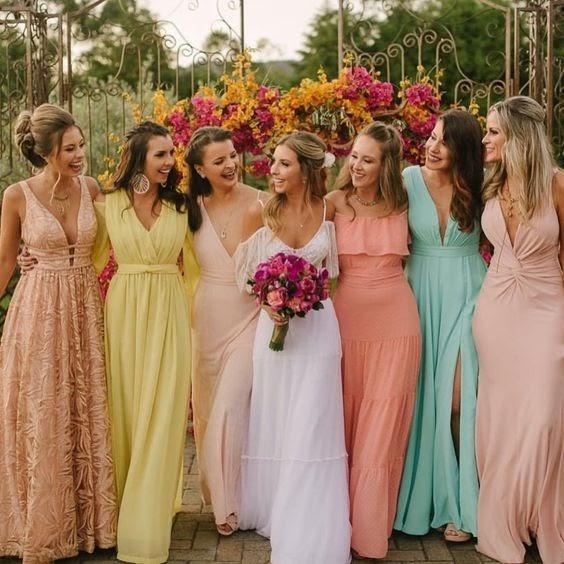 Inspirações incríveis para vestido de madrinha de casamento em tons pasteis